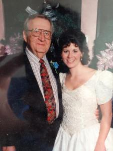 My Grandpa Joe and me at my wedding in 1995.